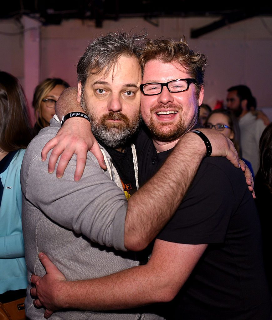 Dan Harmon and Justin Roiland attends the 2015 Adult Swim Upfront Party at Terminal 5