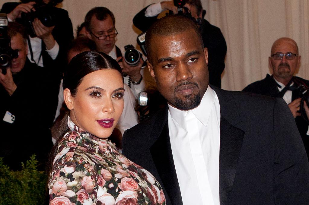Kim Kardashian and Kanye West onstage