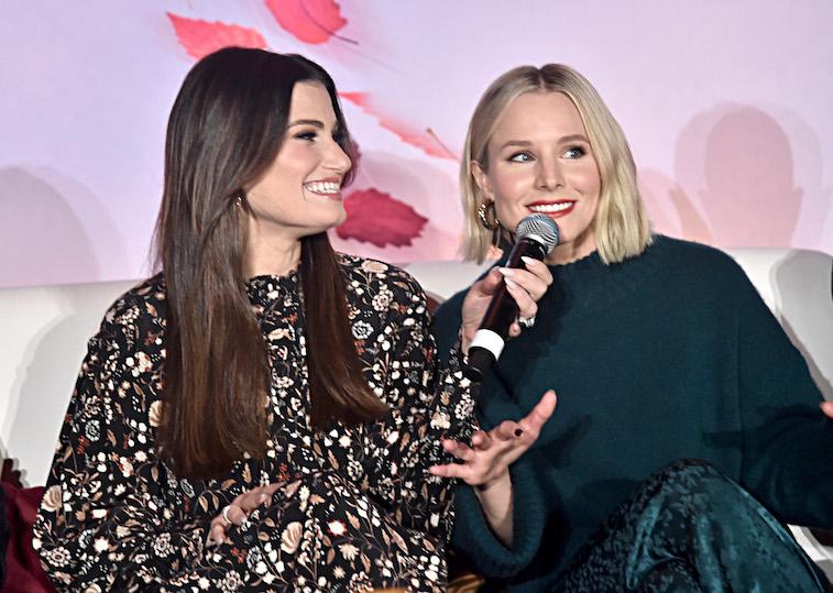 Kristen Bell and Idina Menzel speak onstage
