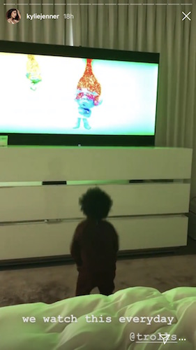 """Kylie Jenner and Stormi watching """"Trolls"""""""