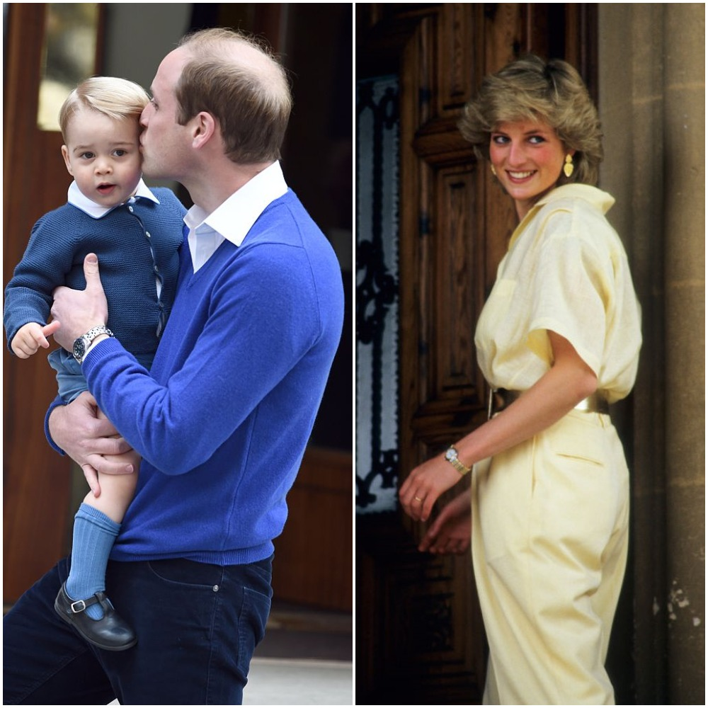 (L): Prince George and Prince William, (R): Princess Diana