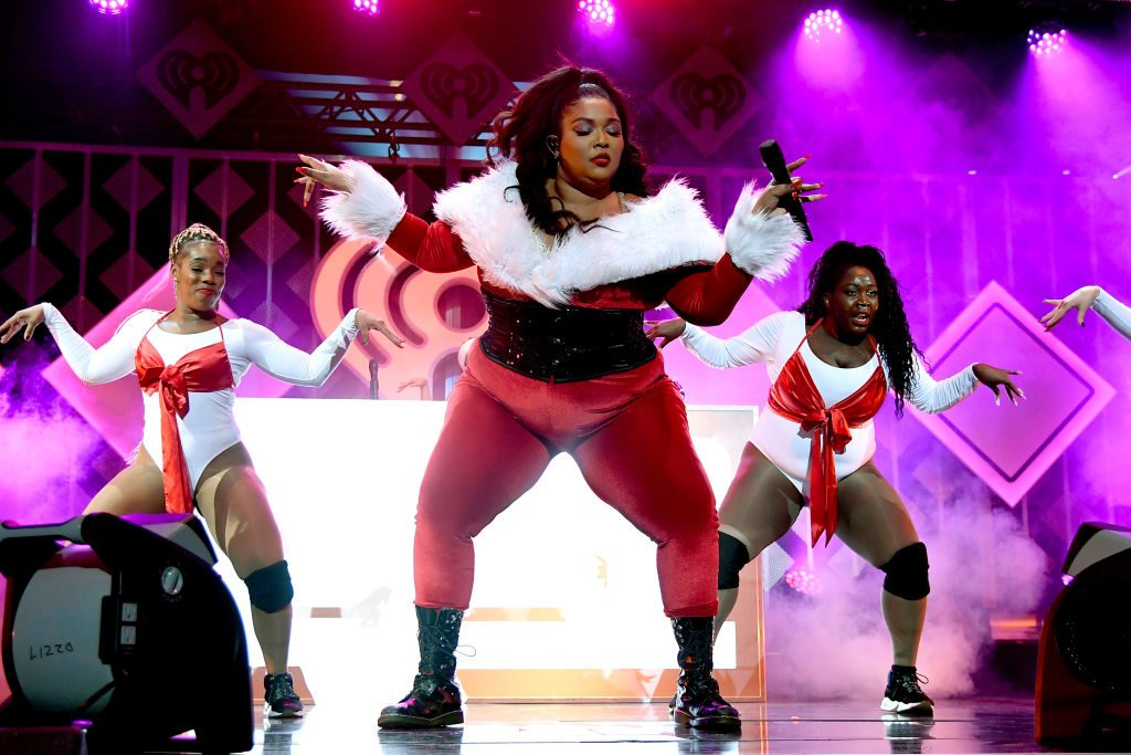 Lizzo performing at the iHeartRadio Z100 Jingle Ball 2019
