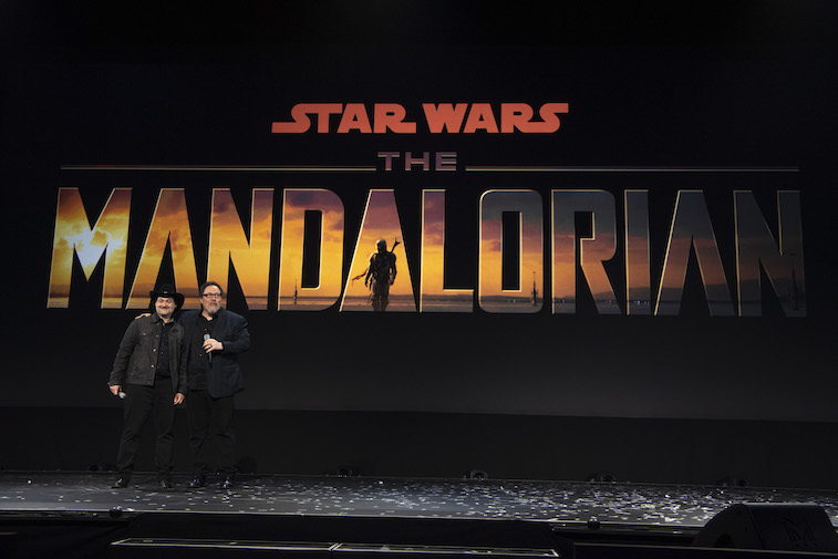 The cast of The Mandalorian onstage at D23