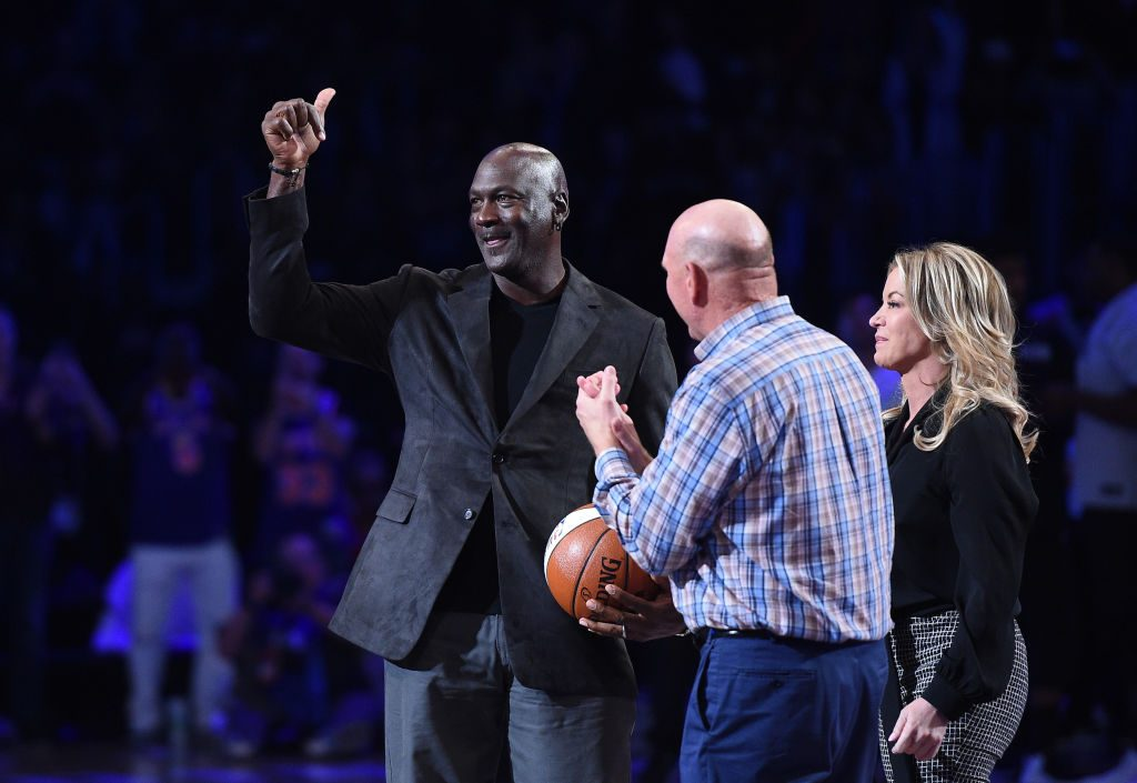 Michael Jordan poses with Steve Ballmer and Jeanie Buss at the 2018 NBA All-Star Game