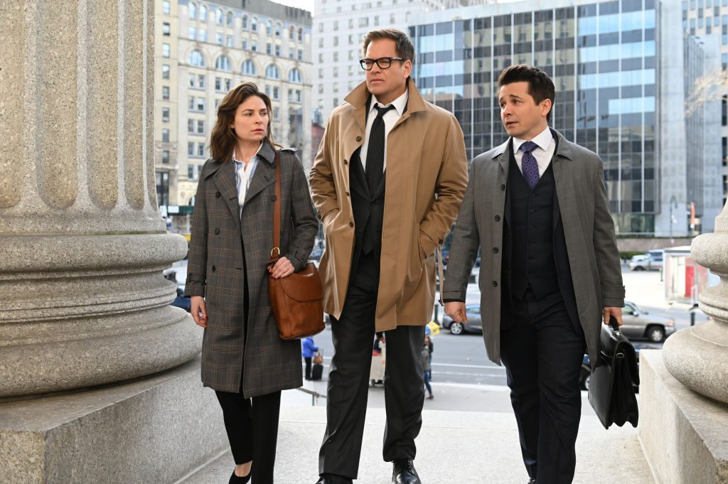 L-R: Mackenzie Meehan as Taylor Rentzel, Michael Weatherly as Dr. Jason Bull, and Freddy Rodriguez as Benny Colón   Phil Caruso/CBS via Getty Images