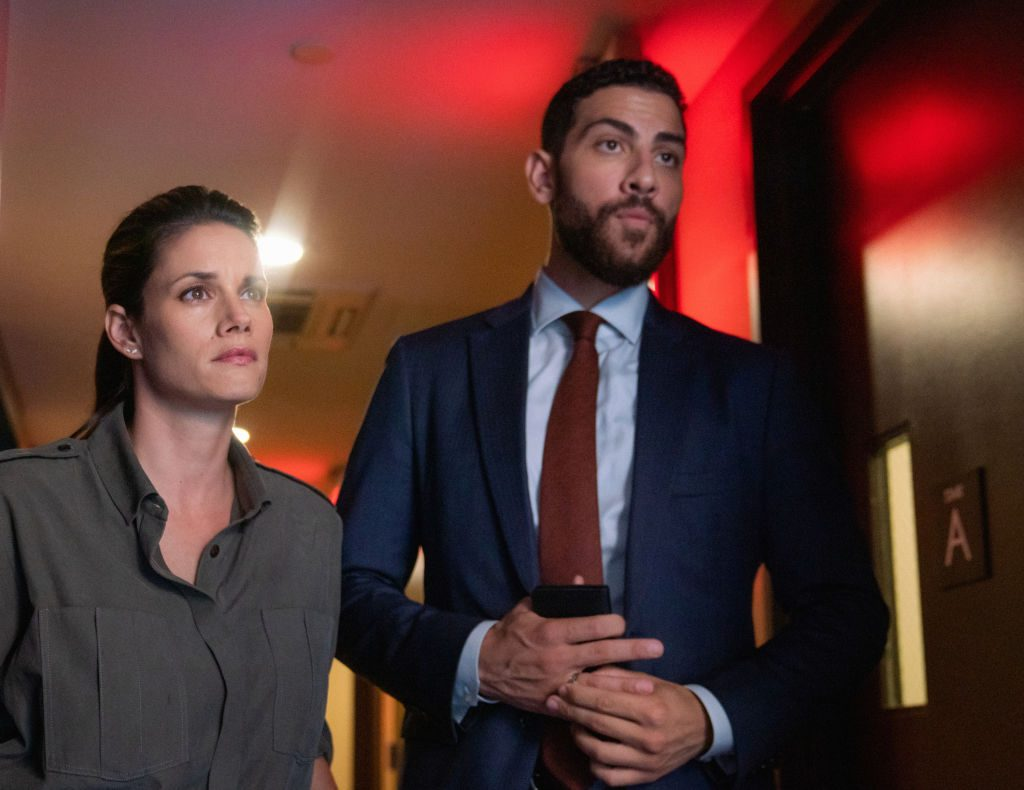 """Missy Peregrym as Special Agent Maggie Bell and Zeeko Zaki as Special Agent Omar Adom 'OA' Zidan  on """"FBI."""" 