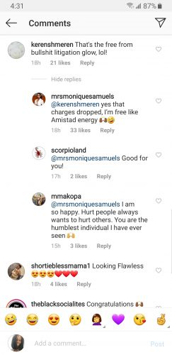 Monique Samuels' response to user