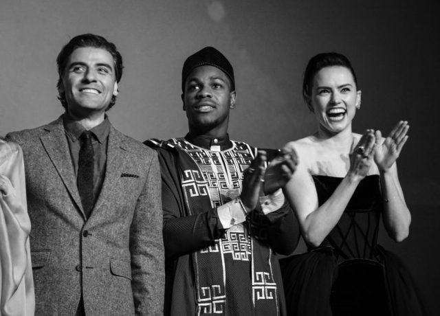 Oscar Isaac, John Boyega, and Daisy Ridley at the European premiere of 'Star Wars: The Rise of Skywalker'