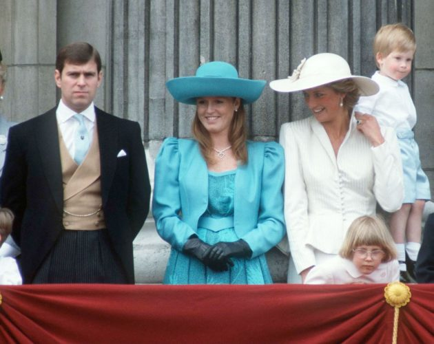 Prince Andrew, Sarah Ferguson, Princess Diana, and Prince Harry in 1987 at Trooping The Colour