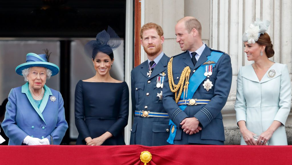 Queen Elizabeth II, Meghan Markle, Prince Harry, Prince William, and Kate Middleton