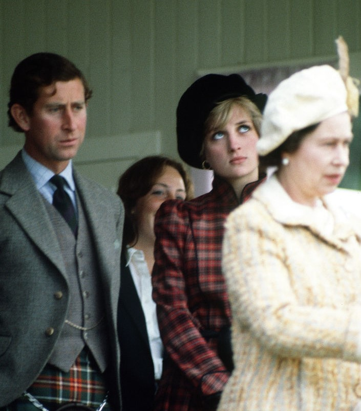 Queen Elizabeth II, Princess Diana, and Prince Charles