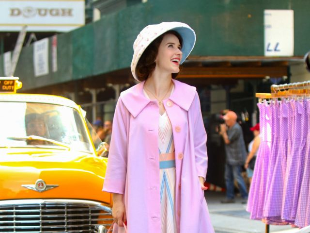 Rachel Brosnahan filming 'The Marvelous Mrs. Maisel in New York City on Sept. 4, 2019