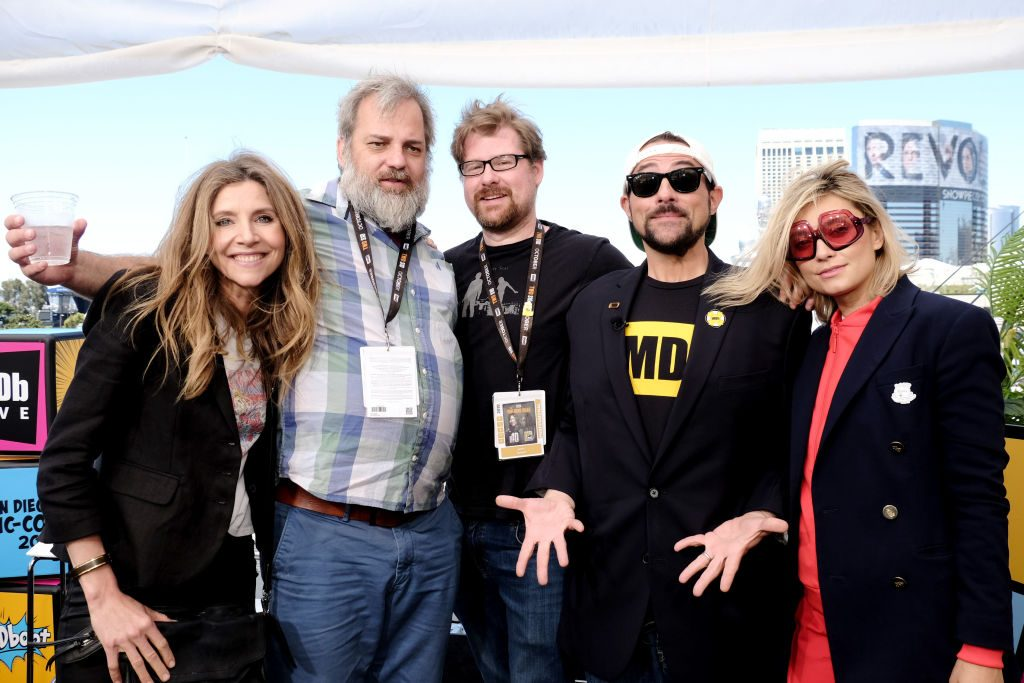 Sarah Chalke, Dan Harmon, Justin Roiland, Kevin Smith and Spencer Grammer attend the #IMDboat at San Diego Comic-Con 2019