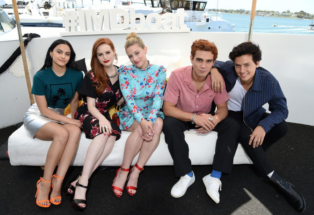'Riverdale's Camila Mendes, Madelaine Petsch,  Lili Reinhart, KJ Apa and Cole Sprouse attend the #IMDboat at San Diego Comic-Con 2019