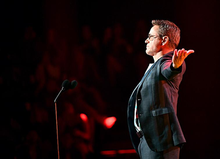 Robert Downey Jr. speaks onstage