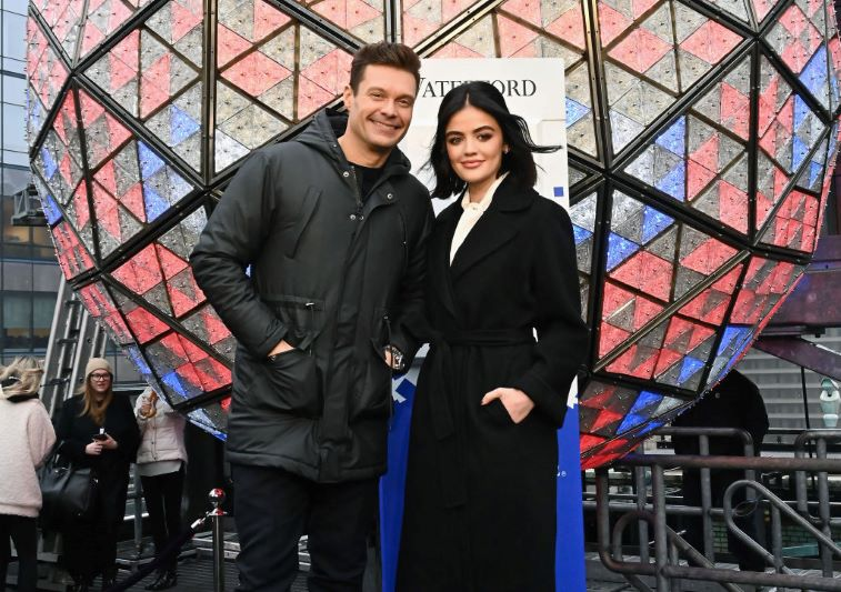 Ryan Seacrest and Lucy Hale in front of the Waterford Crystal Times Square Ball