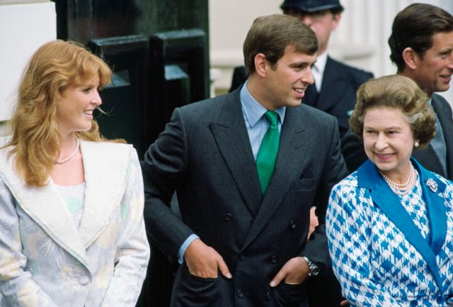 Sarah Ferguson, Prince Andrew, and Queen Elizabeth II on Aug. 4, 1986