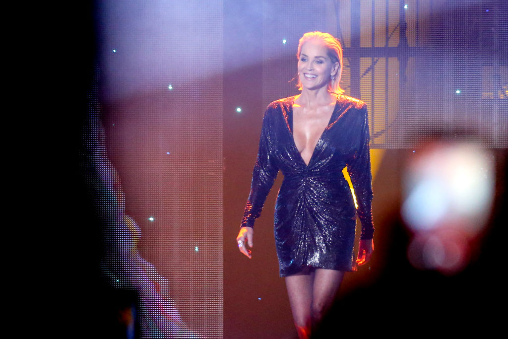 Sharon Stone is seen on stage during the GQ Men of the Year Award show