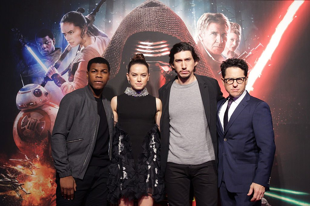 Actor John Boyega, actress Daisy Ridley, actor Adam Driver and director J.J. Abrams attend  'Star Wars: The Force Awakens' Event