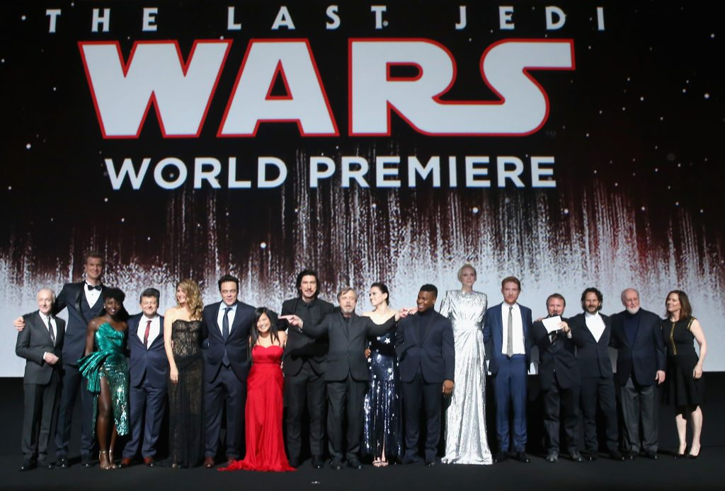 Director Rian Johnson and the cast of 'Star Wars: The Last Jedi'