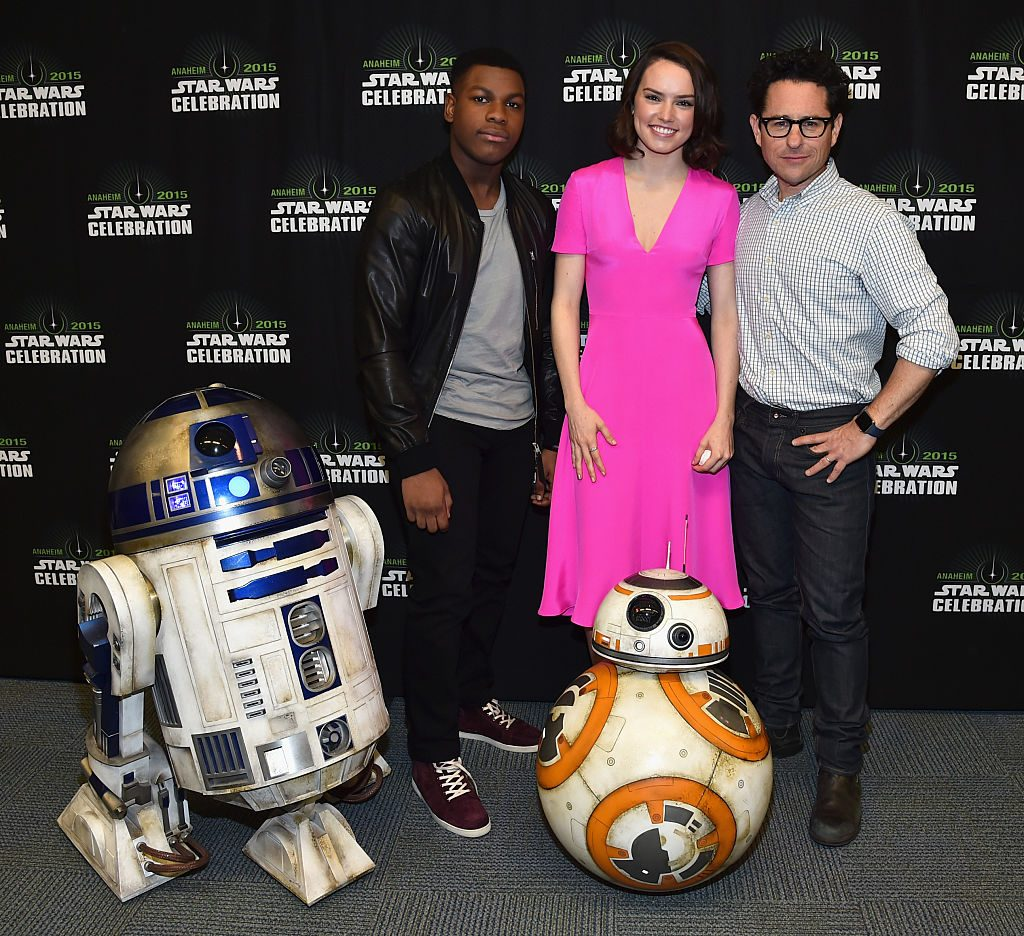 Actors John Boyega and Daisy Ridley and director J.J. Abrams attend Star Wars Celebration