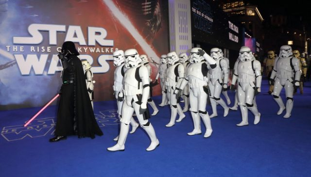 People dressed as Star Wars characters at the 'Star Wars: The Rise of Skywalker' European Premiere