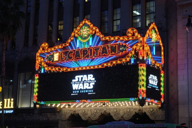 The marquee of 'Star Wars: The Rise Of Skywalker'