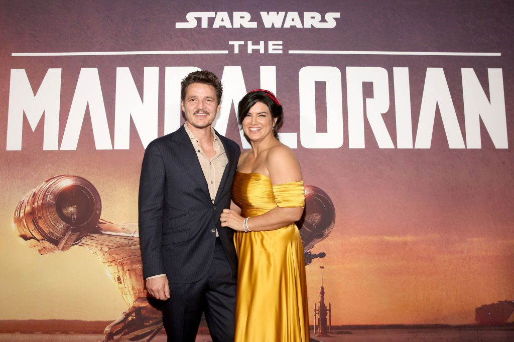 """Pedro Pascal and Gina Carano arrive at the premiere of Lucasfilm's first-ever, live-action series, """"The Mandalorian,"""