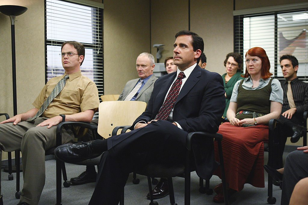 Rainn Wilson as Dwight Schrute, Creed Bratton as Creed Bratton, Steve Carell as Michael Scott, Kate Flannery as Meredith Palmer on 'The Office'