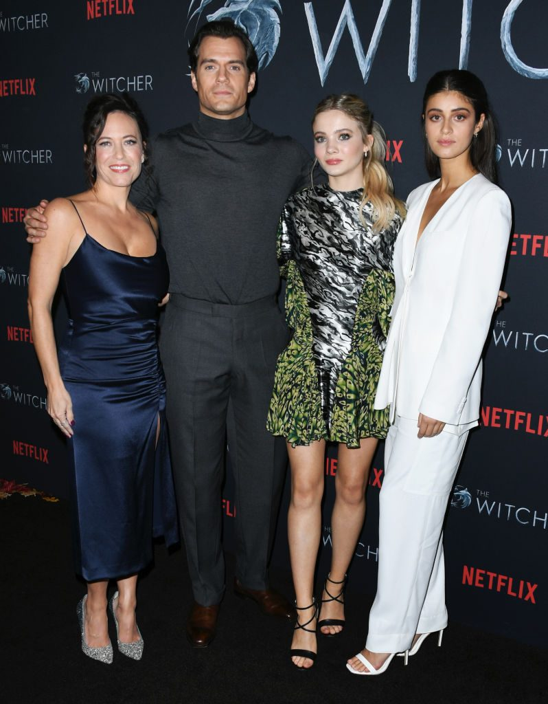 'The Witcher' showrunner Lauren S Hissrich with Henry Cavill, Freya Allan, and Anya Chalotra