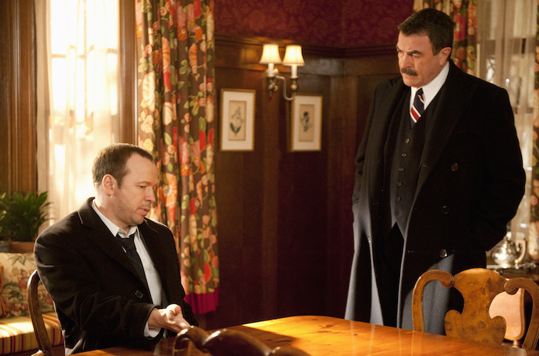 Donnie Wahlberg and Tom Selleck on Blue Bloods