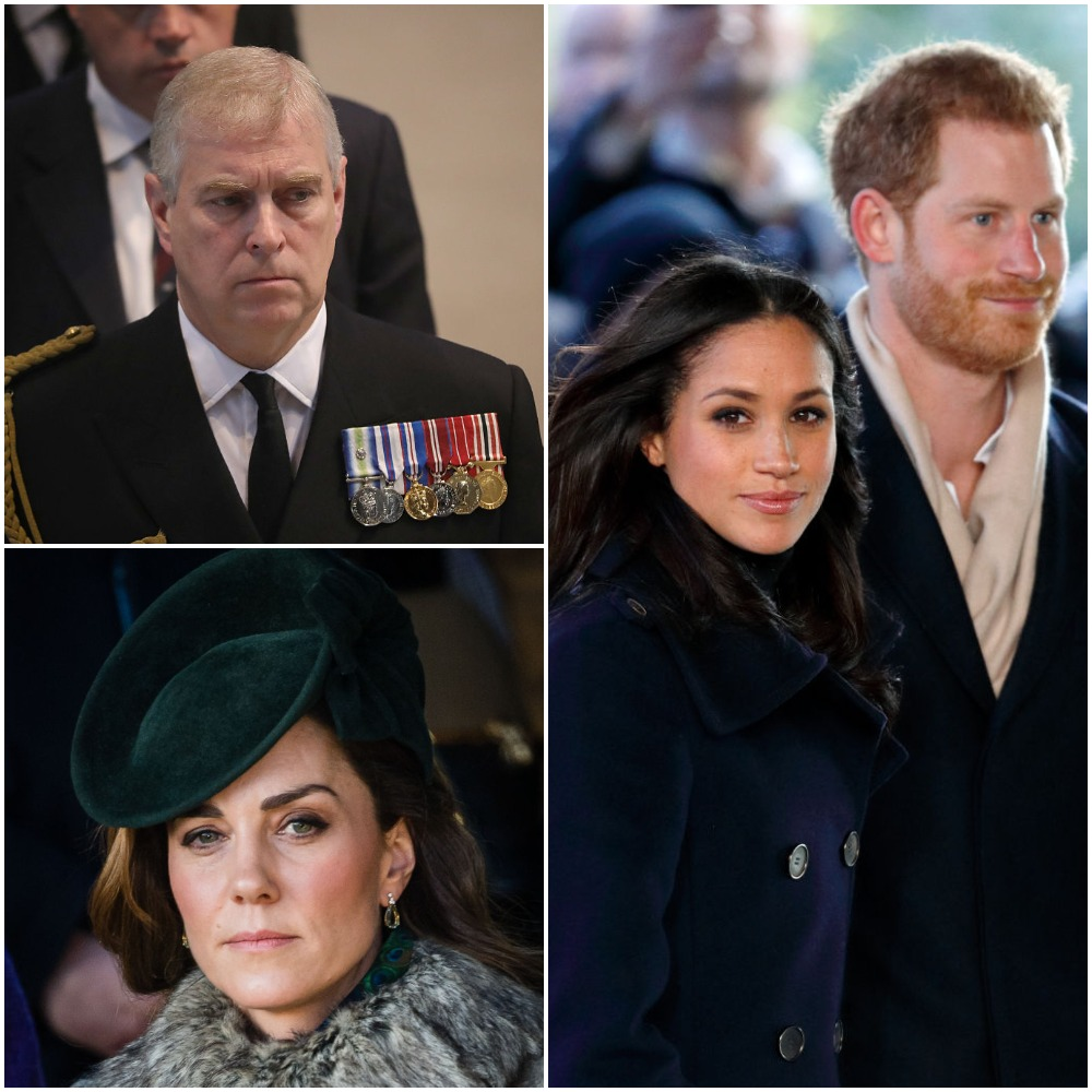 Top left: Prince Andrew, Bottom left: Kate Middleton, Right: Meghan Markle and Prince Harry
