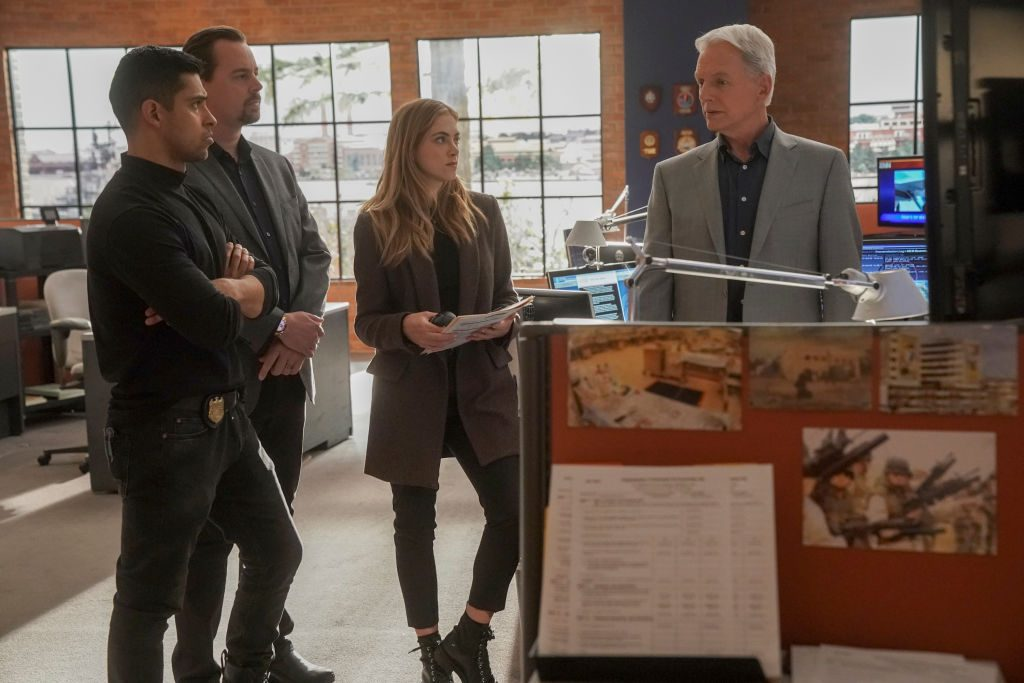Wilmer Valderrama, Sean Murray, Emily Wickersham, and  Mark Harmon on NCIS |Sonja Flemming/CBS via Getty Images