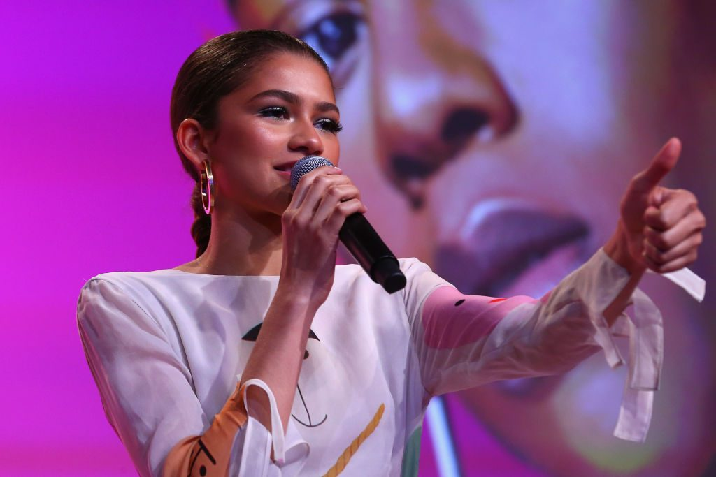 Actor Zendaya speaks on a panel during Beautycon Festival NYC 2018
