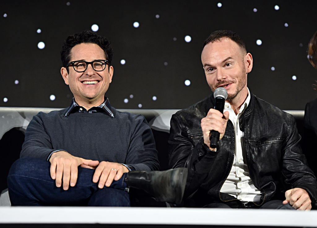 J.J. Abrams and Chris Terrio speak at a press conference for 'Star Wars:  The Rise of Skywalker.'