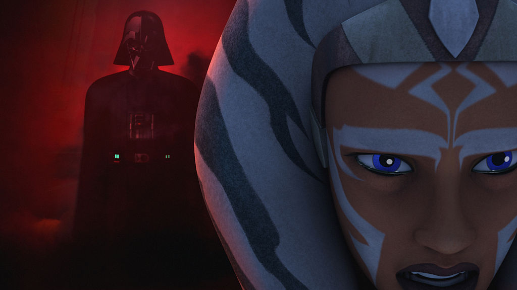 """Ahsoka gets emotional as she sees a vision of Darth Vader mixed in with Anakin Skywalker in the episode """"Shroud of Darkness"""" in Season 2 of 'Star Wars Rebels.'"""