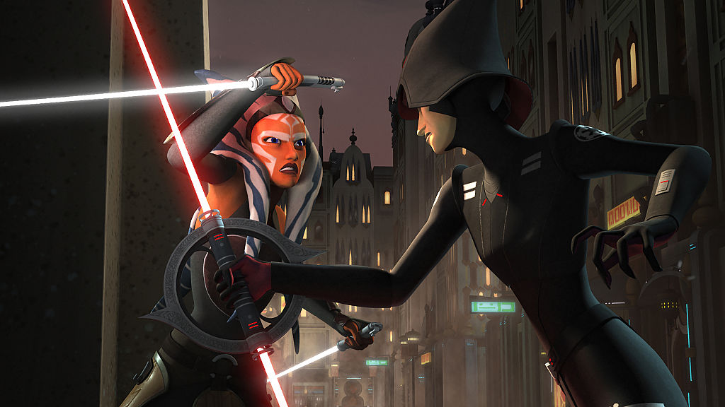 Ahsoka Tano fighting an Inquisitor in 'Star Wars: Rebels.'