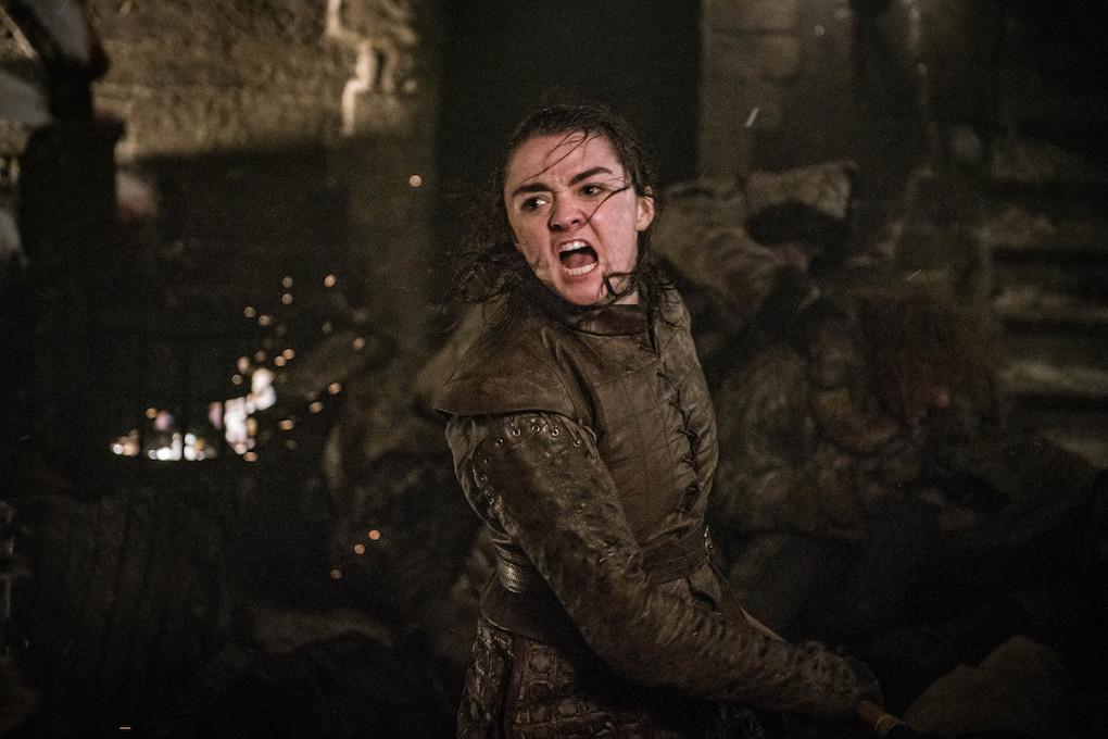 Arya Stark, played by Maisie Williams, fighting in Season 8.