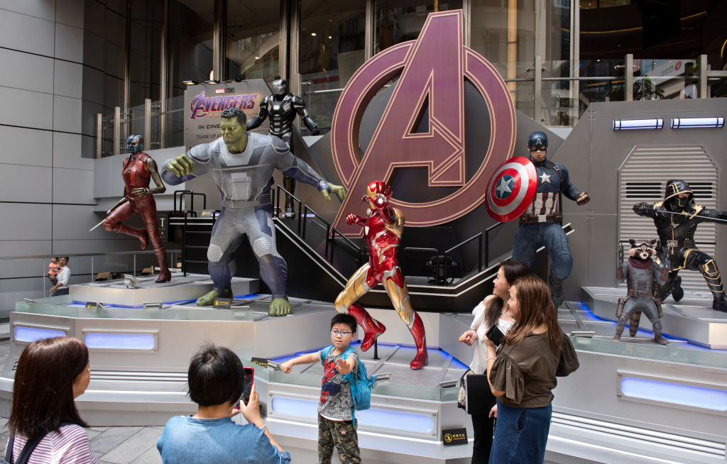Marvel and Marvel Studios figures to commemorate 'Avengers: Endgame' in Hong Kong.