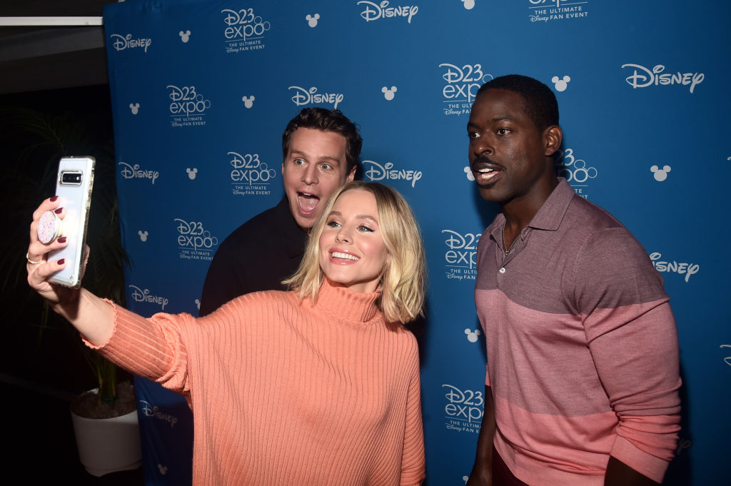 Jonathan Groff, Kristen Bell, and Sterling K. Brown pose for a selfie at Disney's D23 Expo 2019 for 'Frozen 2.'
