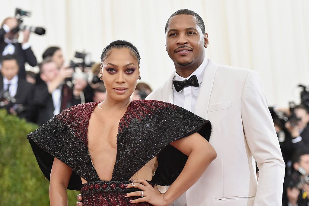 "Carmelo Anthony and Lala Anthony attend the ""Manus x Machina: Fashion In An Age Of Technology"" Costume Institute Gala."