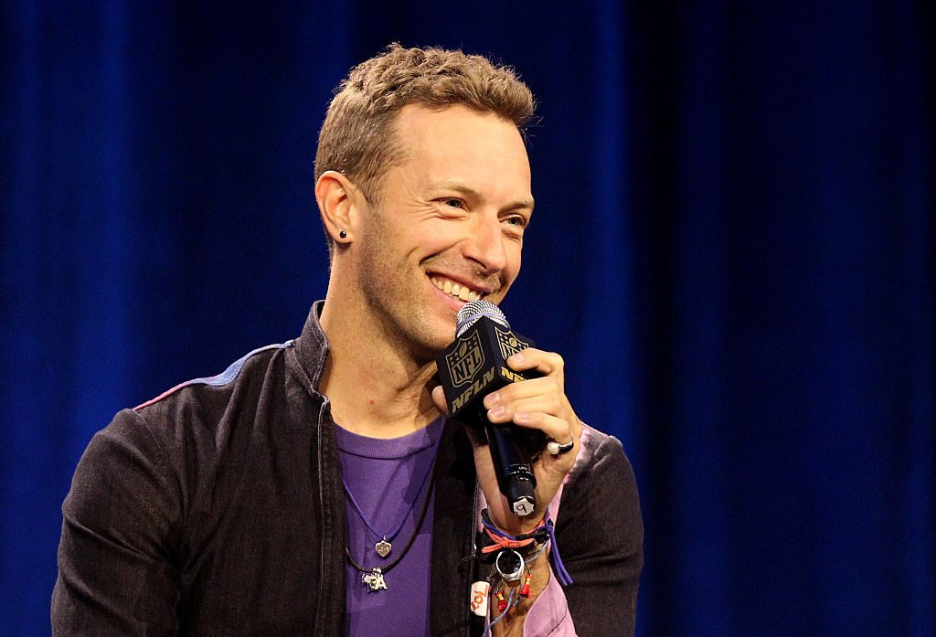 Chris Martin of Coldplay speaks during the Pepsi Super Bowl 50 Halftime Press Conference.