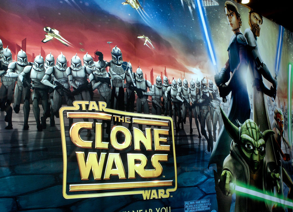 A film poster for 'The Clone Wars' on display at the New York International Children's Film Festival in 2008.