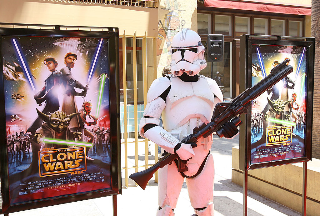 A Clone trooper at the premiere of 'Star Wars: The Clone Wars' movie in Los Angeles.