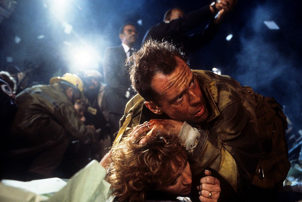 Bonnie Bedelia and Bruce Willis in 'Die Hard' (1988)