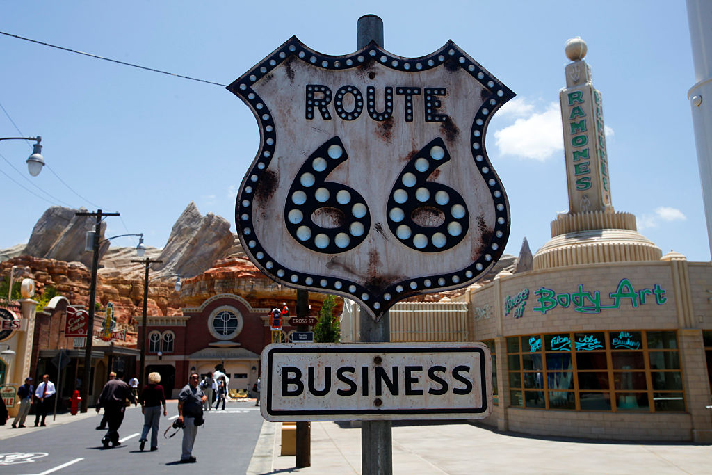 A Route 66 sign in the town of Radiator Springs at Disney's California Adventure Park.