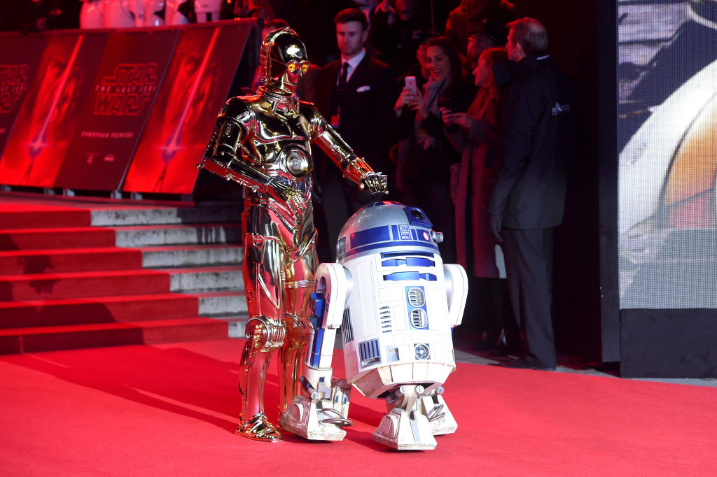Pals C-3PO and R2-D2 at the European Premiere of 'Star Wars: The Last Jedi.'