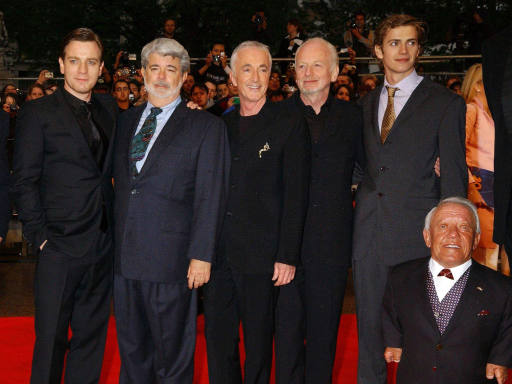 Ewan McGregor, director George Lucas, Anthony Daniels, Ian McDiarmid, Hayden Christensen and Kevin Baker at the 'Episode III: Revenge of the Sith' premiere.