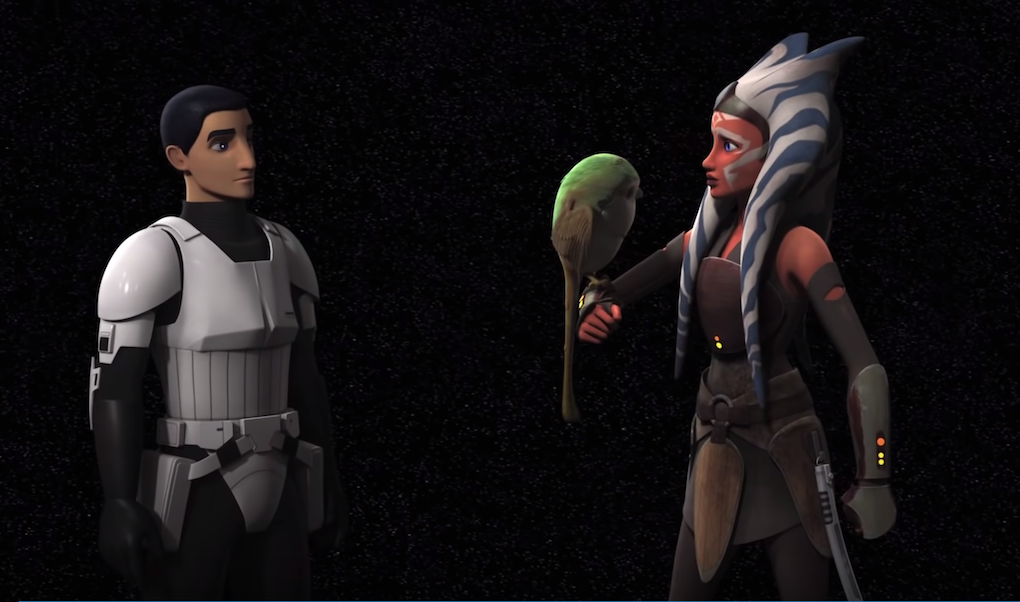 Ezra and Ahsoka meet in the World Between Worlds in Season 4 of 'Star Wars Rebels.'