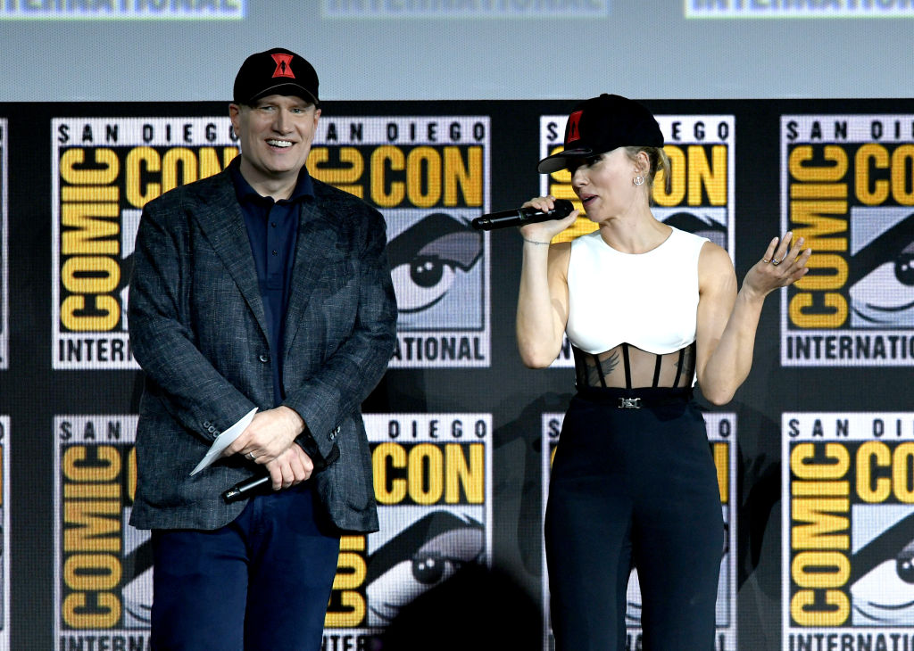 Kevin Feige and Scarlett Johansson speak about 'Black Widow' at the Marvel Studios panel during San Diego Comic-Con 2019.